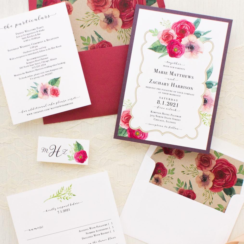 Cranberry Crush Wedding Invitations