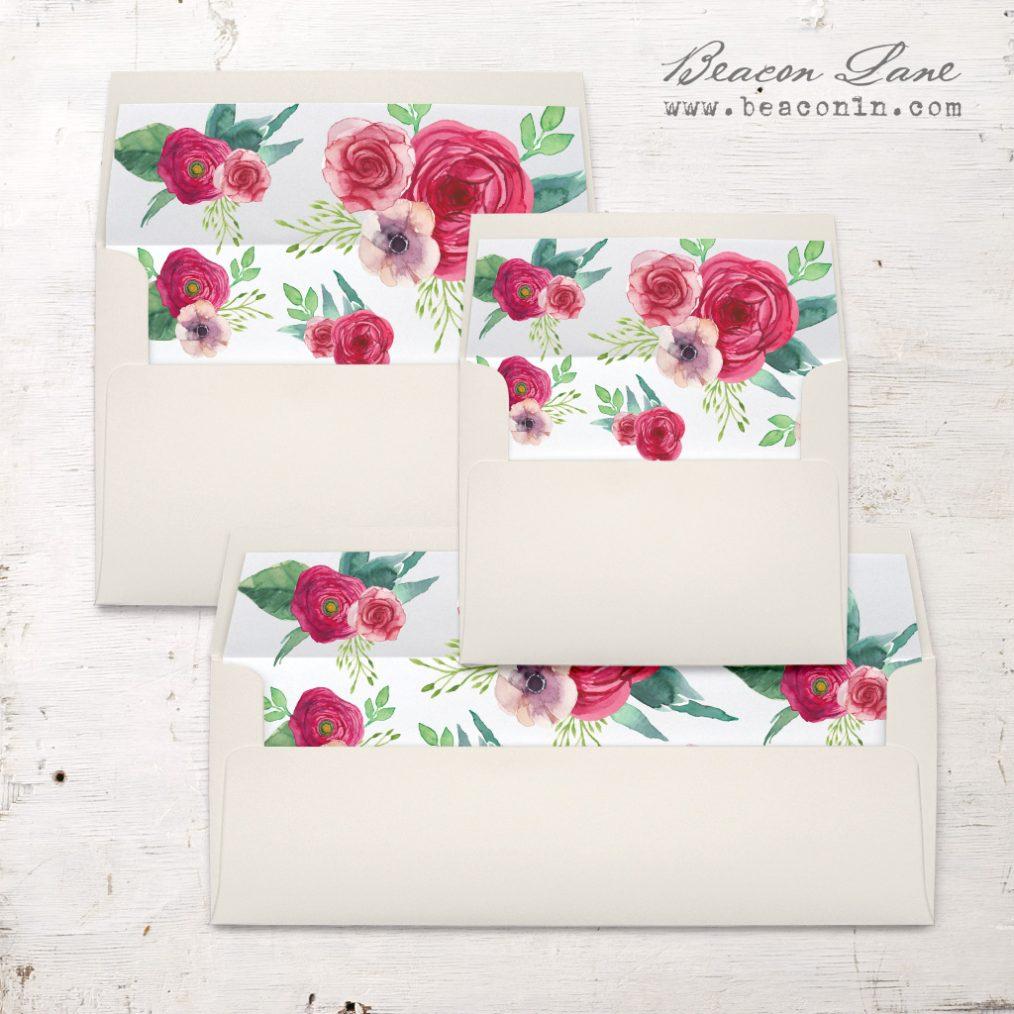 Deep Red Roses Envelope Liner