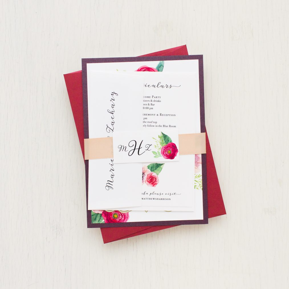 Deep Red Roses Wedding Invitations