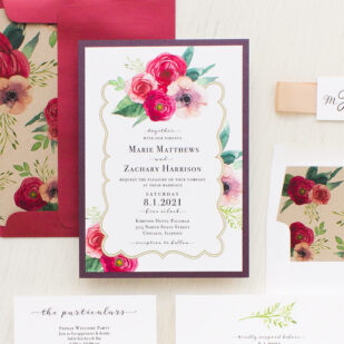 Deep Red Roses Wedding Invitations