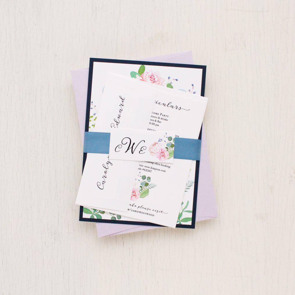 Dusty Blue Floral Wedding Invitations