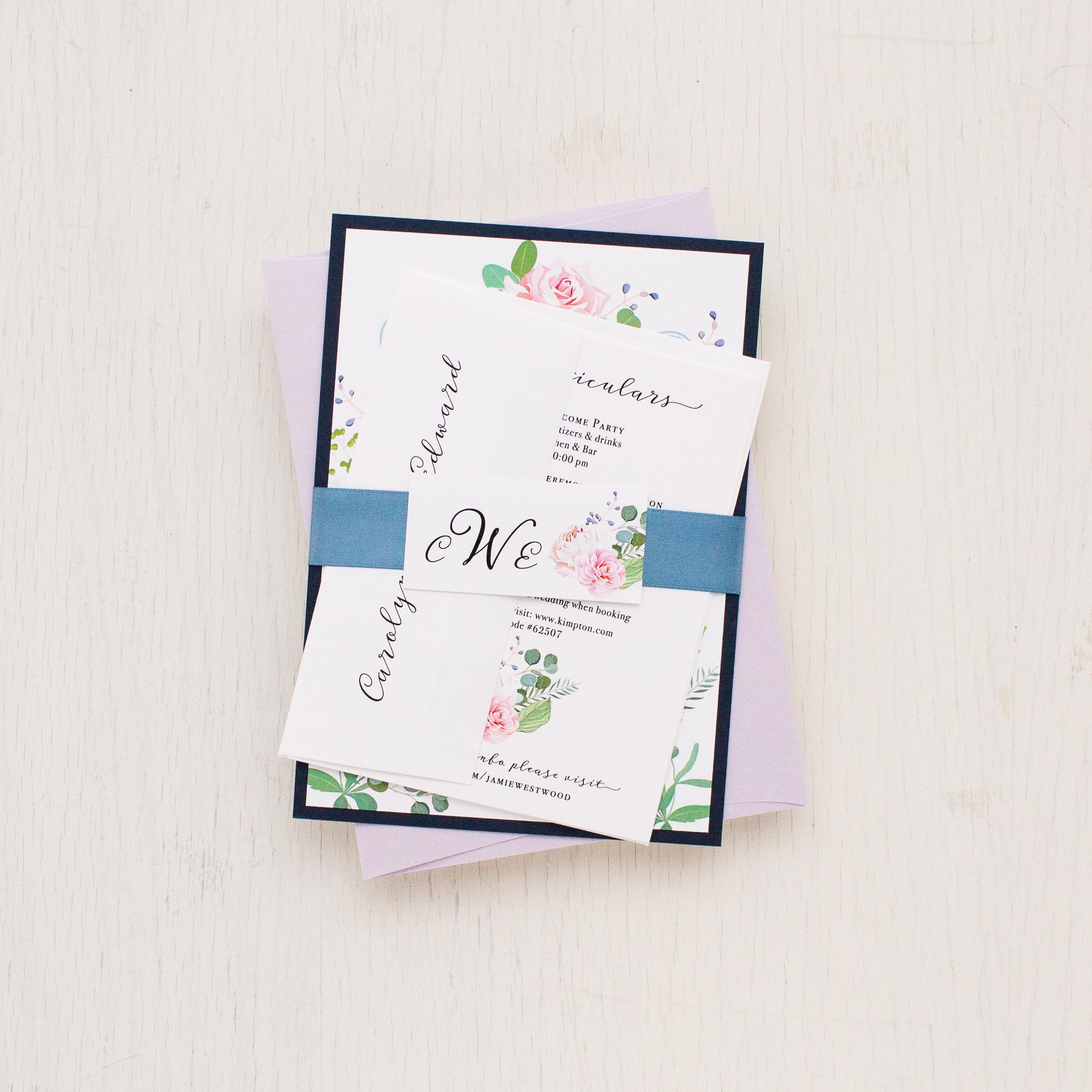 Dusty Blue Floral Wedding Invitations | Beacon Lane