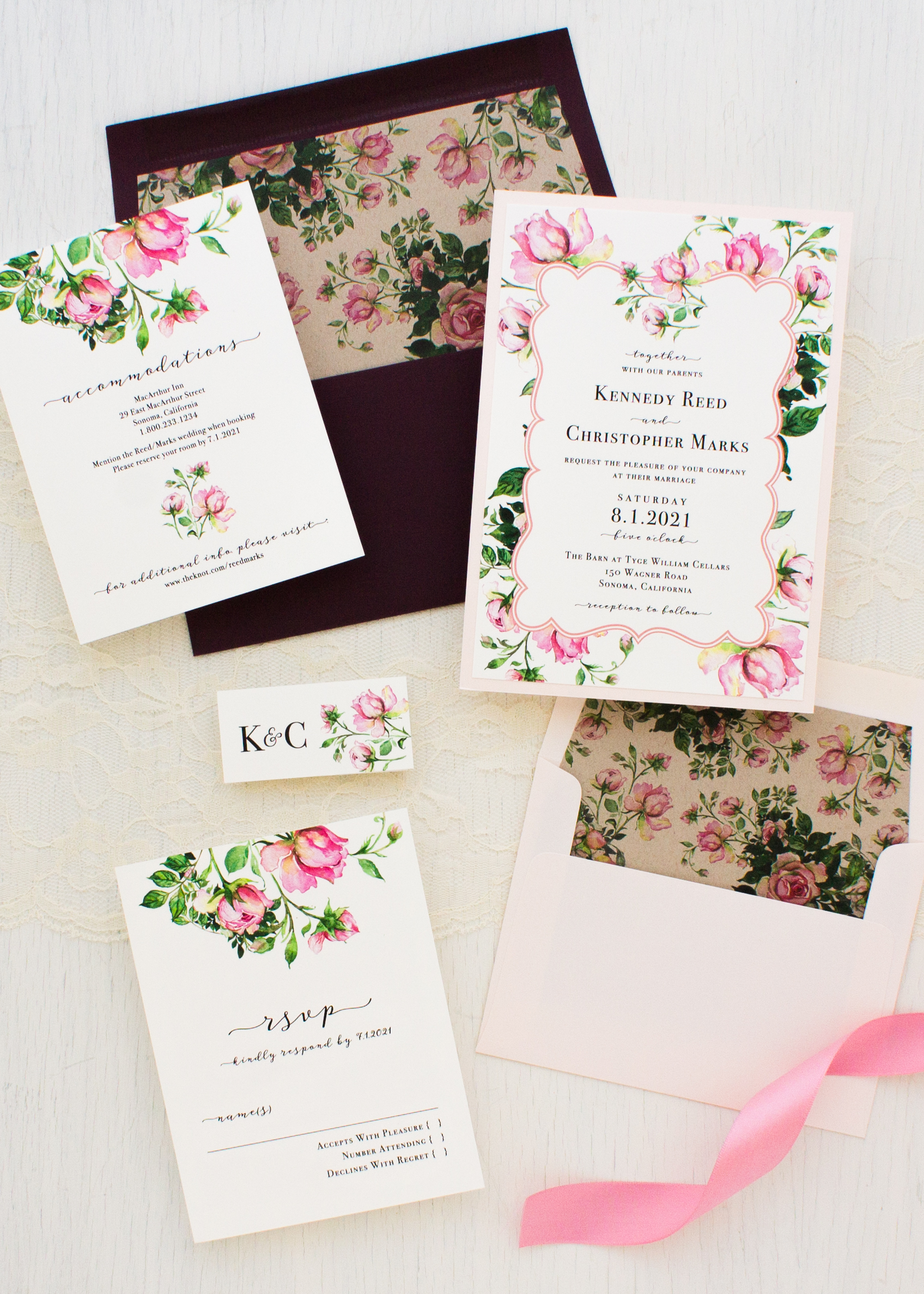 dusty rose wedding invitations beacon lane