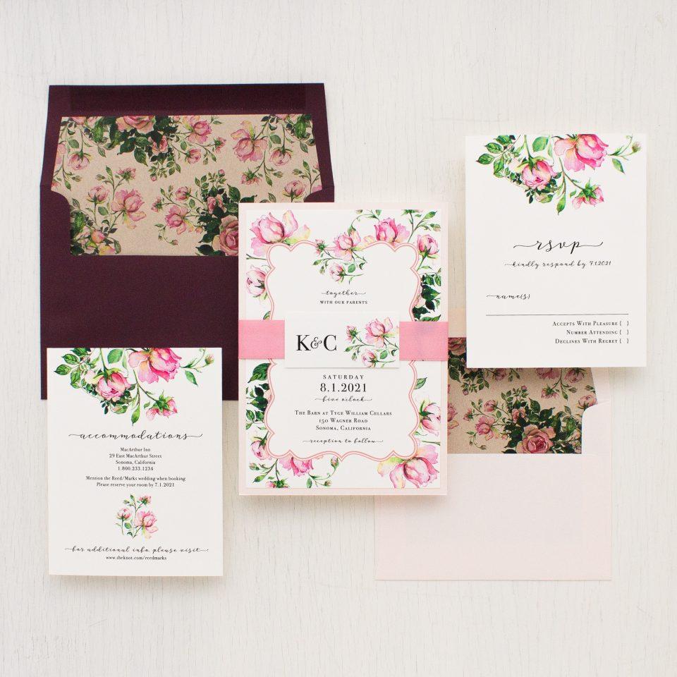 Dusty Rose Wedding Invitations