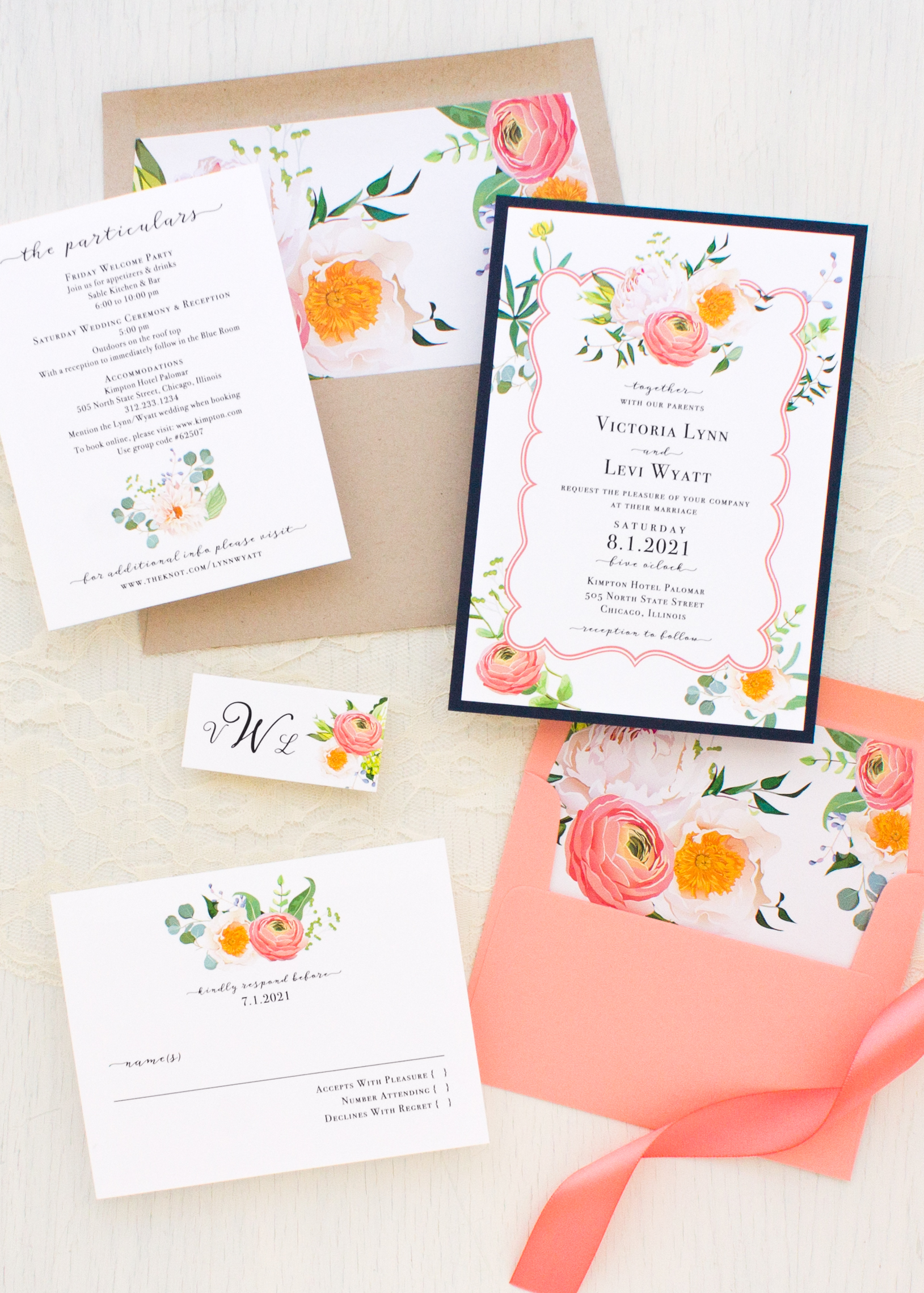 Elegant Coral Wedding Invitations | Beacon Lane