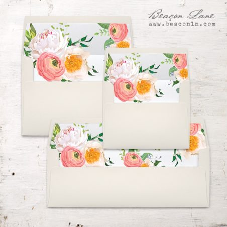 Elegant Coral Envelope Liners