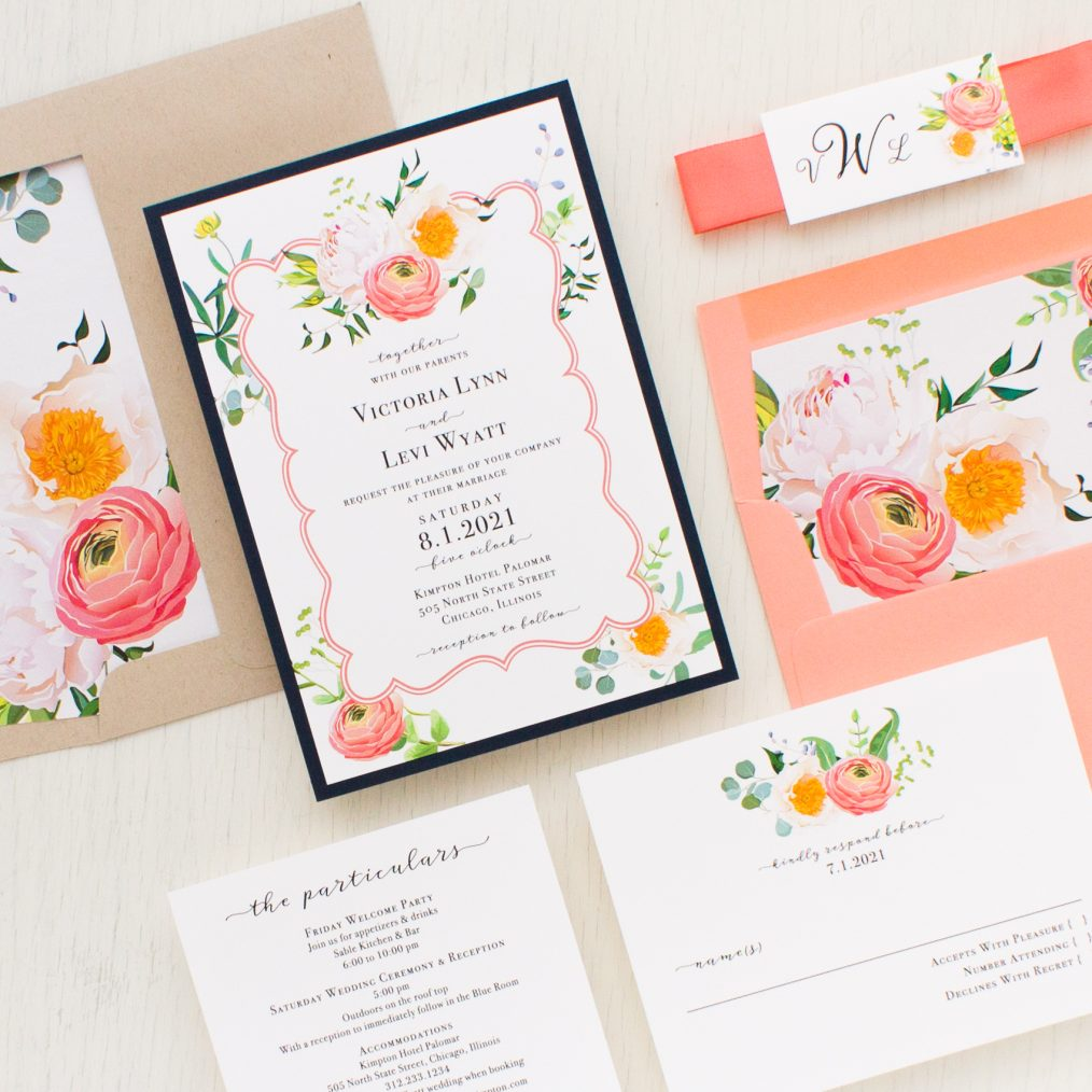 Elegant Coral Wedding Invitations