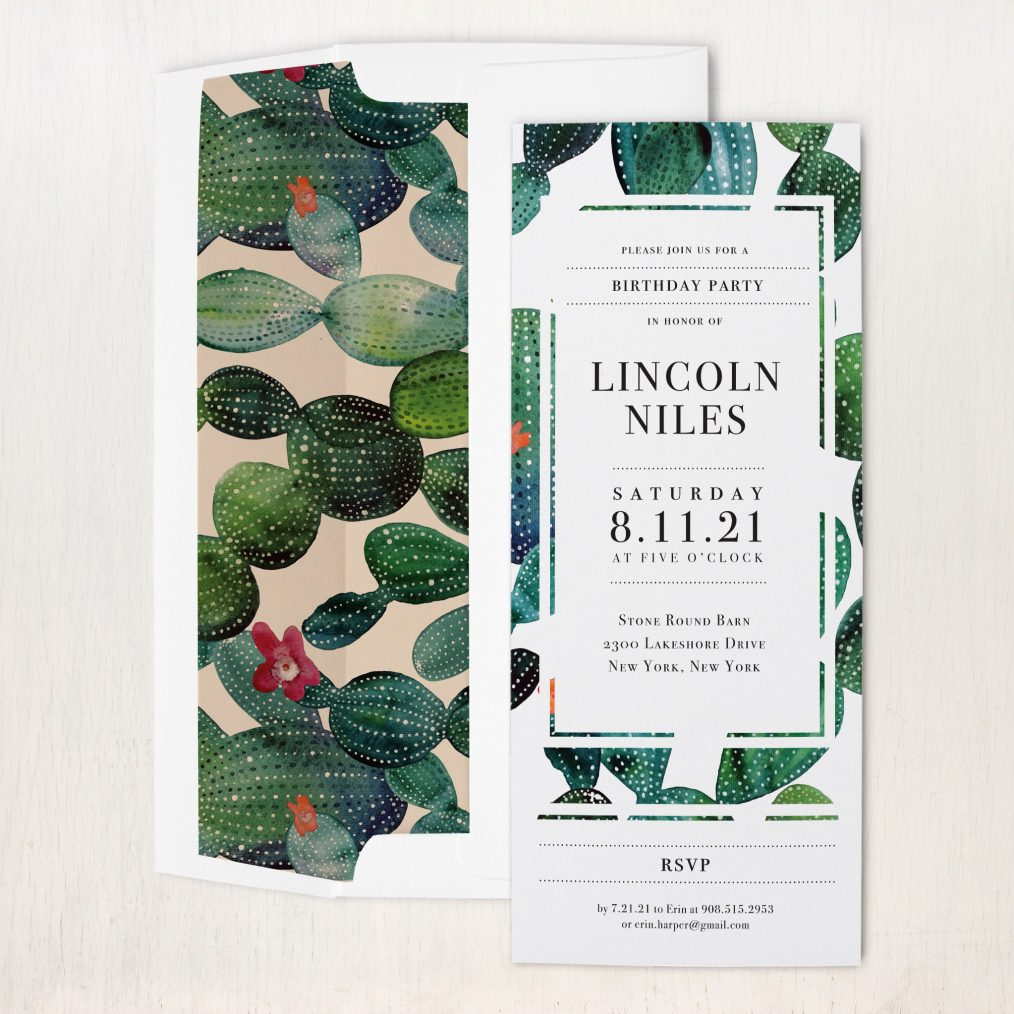 Emerald Cactus Party Invitations