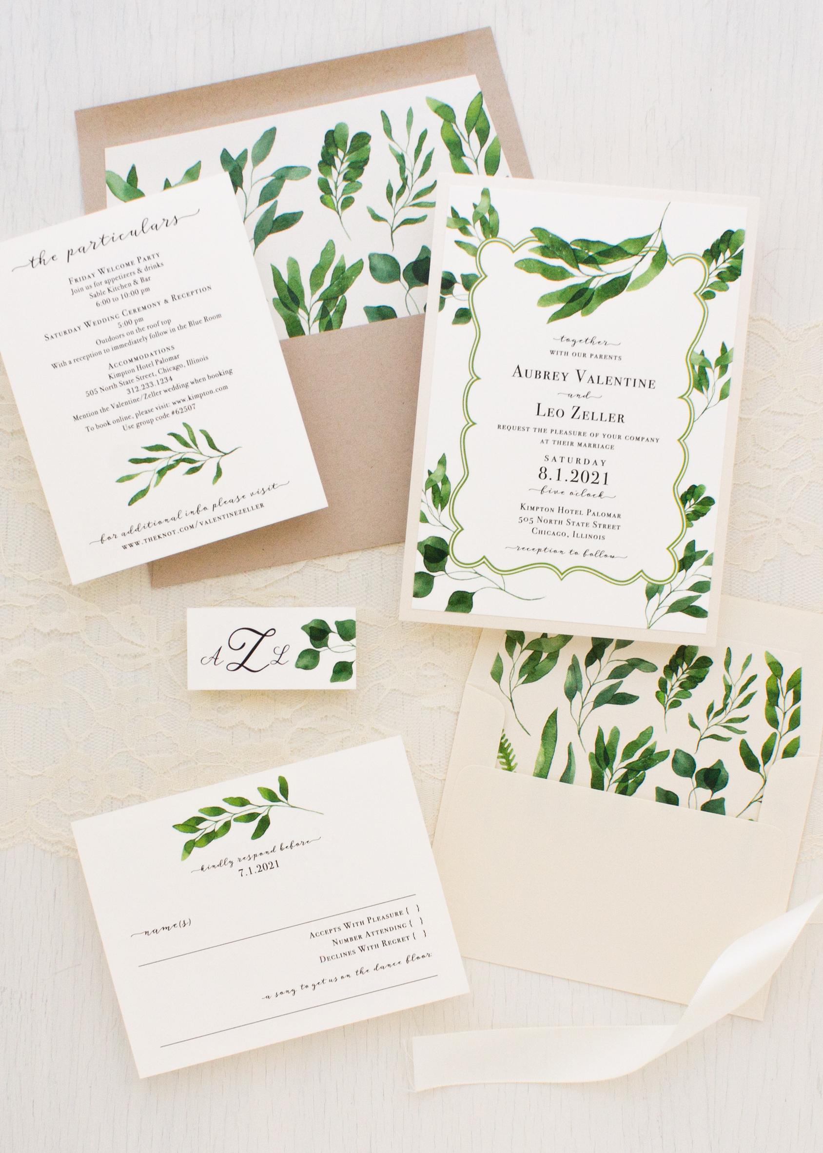 Eucalyptus Green Wedding Invitations | Beacon Lane
