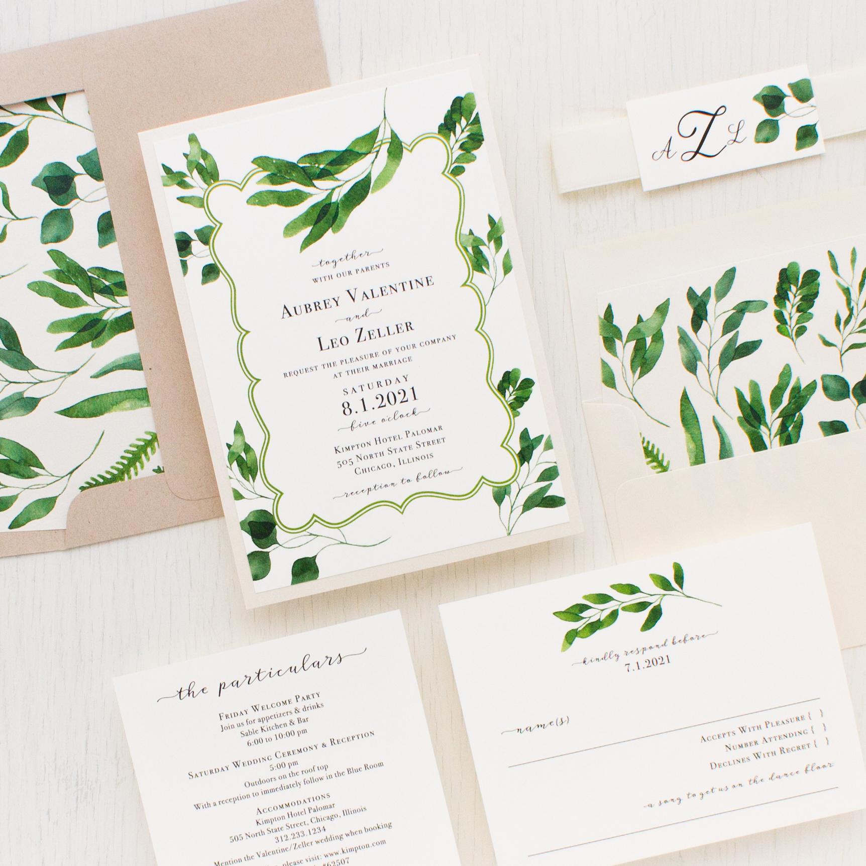 Eucalyptus Green Wedding Invitations   Beacon Lane