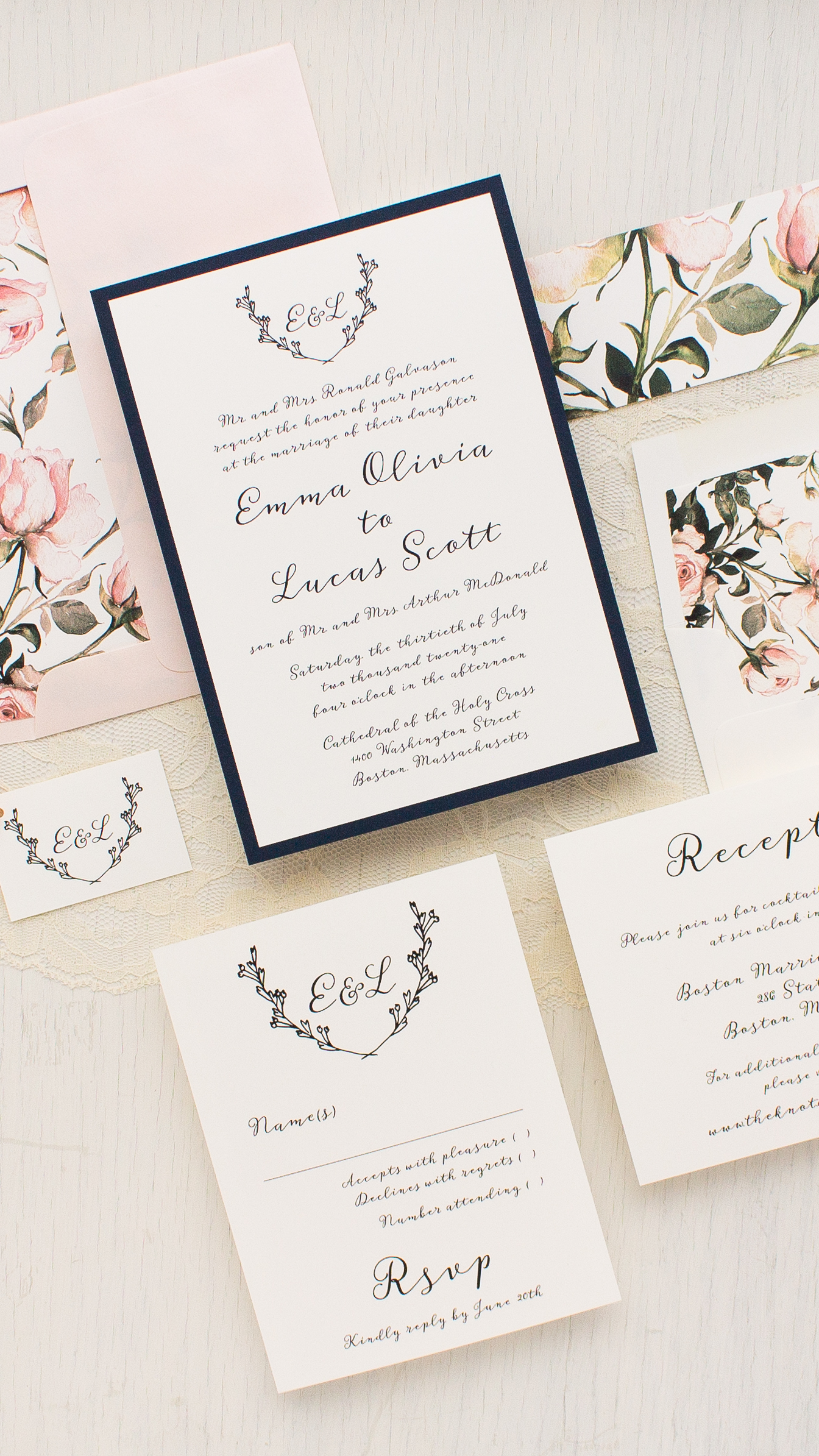 floral wedding invitations | Beacon Lane