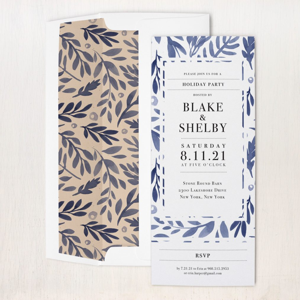 Indigo Branches Party Invitations