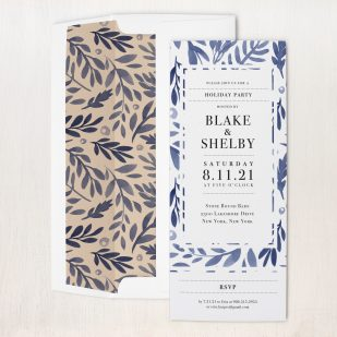 Indigo Branches Holiday Party Invitations