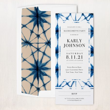 Indigo Wash Party Invitations
