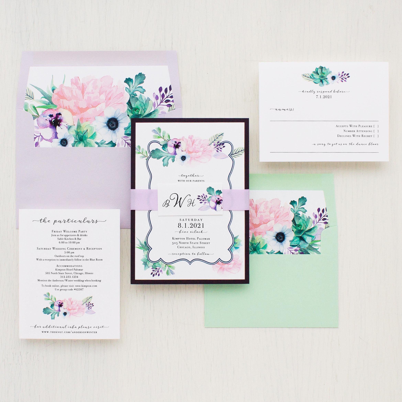 Lilac Succulent Wedding Invitations