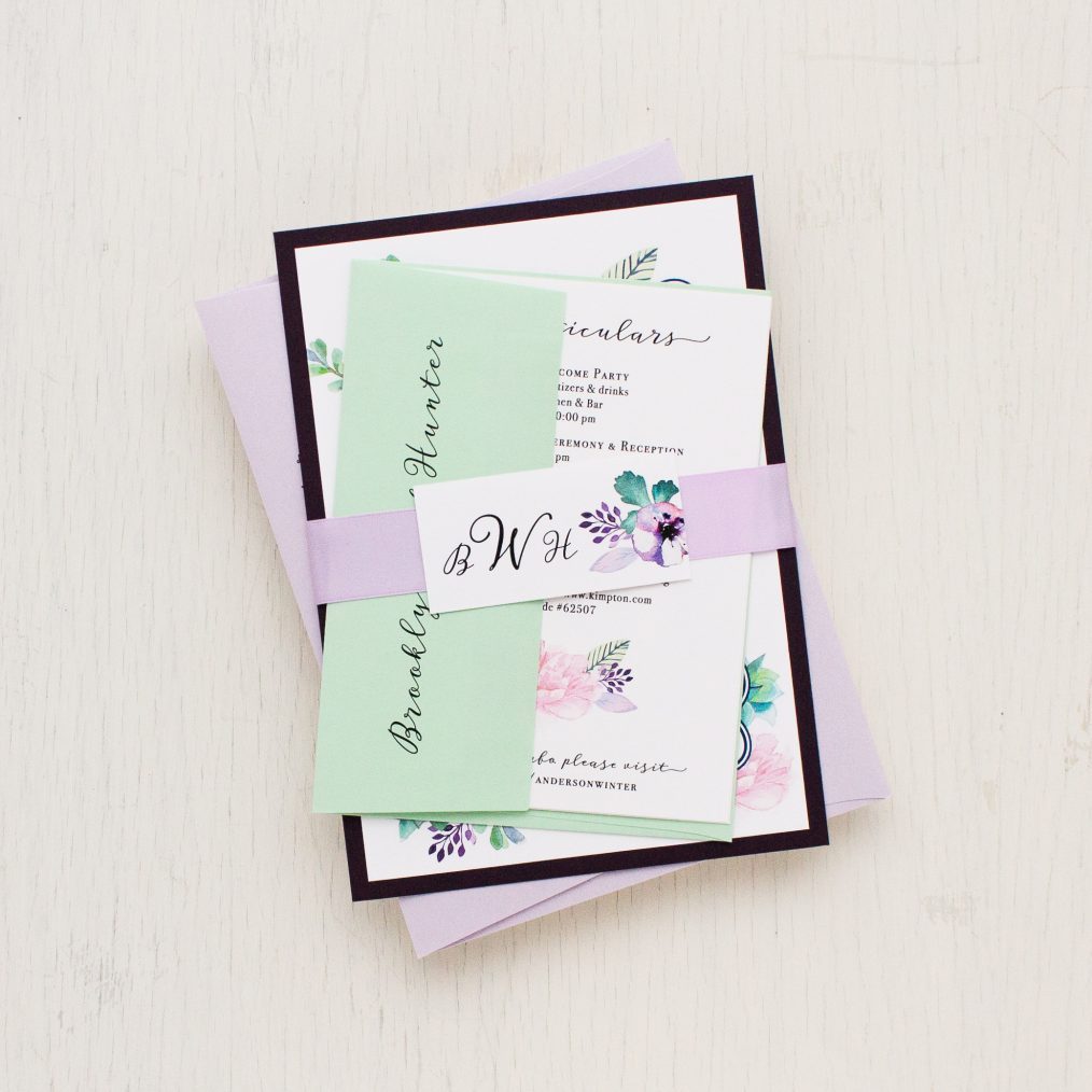 Lilac Succulent Wedding Invitations
