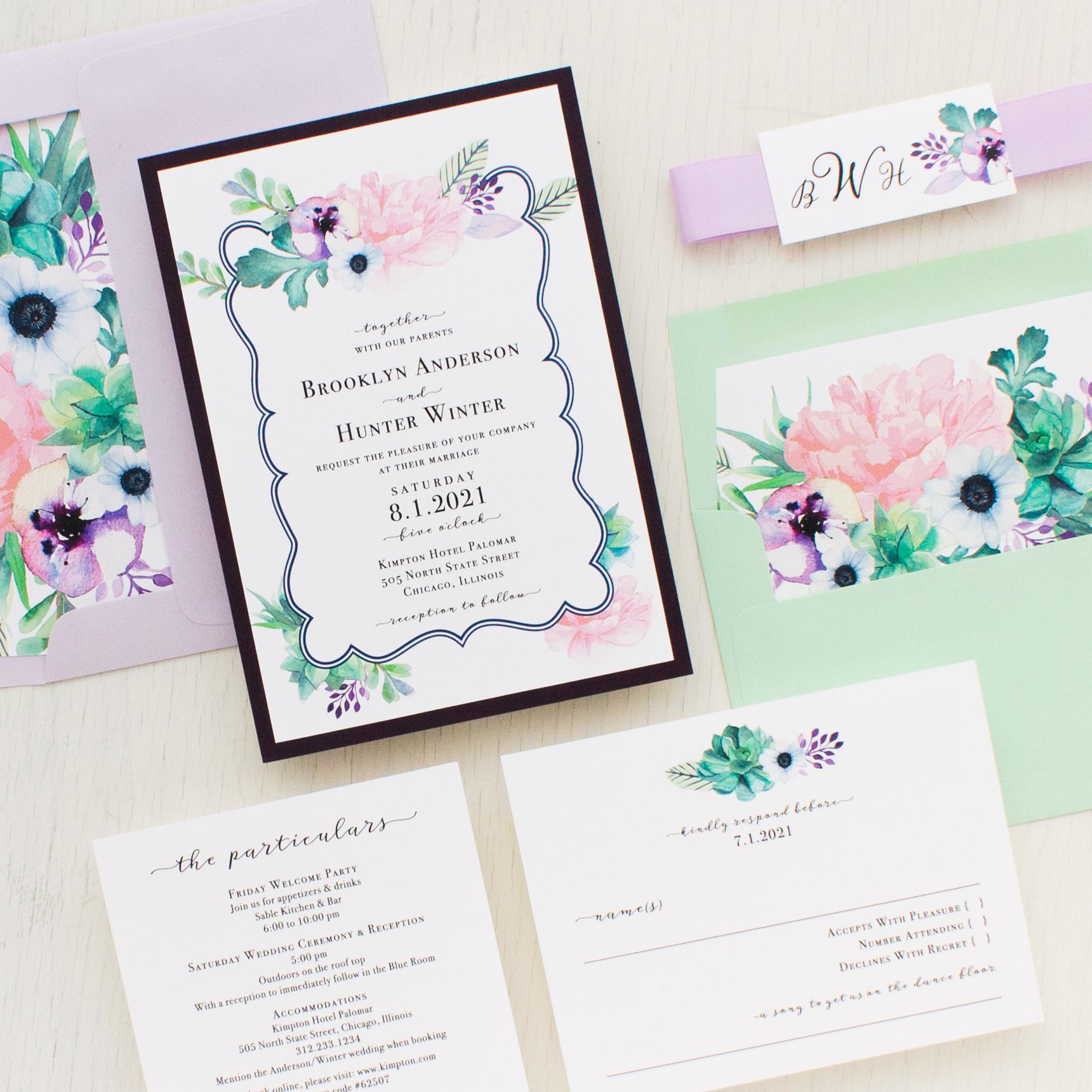 Lilac Succulent Wedding Invitations   Beacon Lane