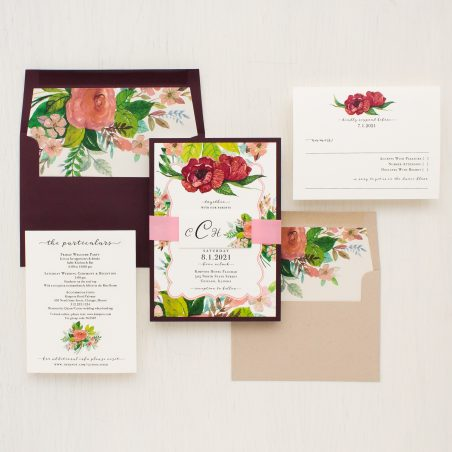 Mauve Floral Wedding Invitations