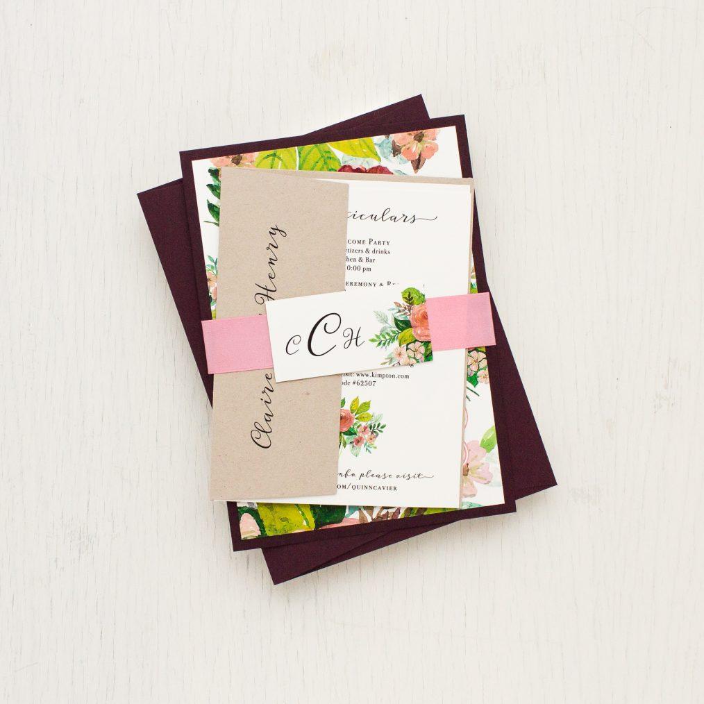 Mauve Floral Wedding Invitations