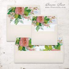 Mauve Floral Envelope Liners