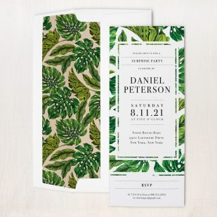 Monstera Leaf Surprise Party Invitations