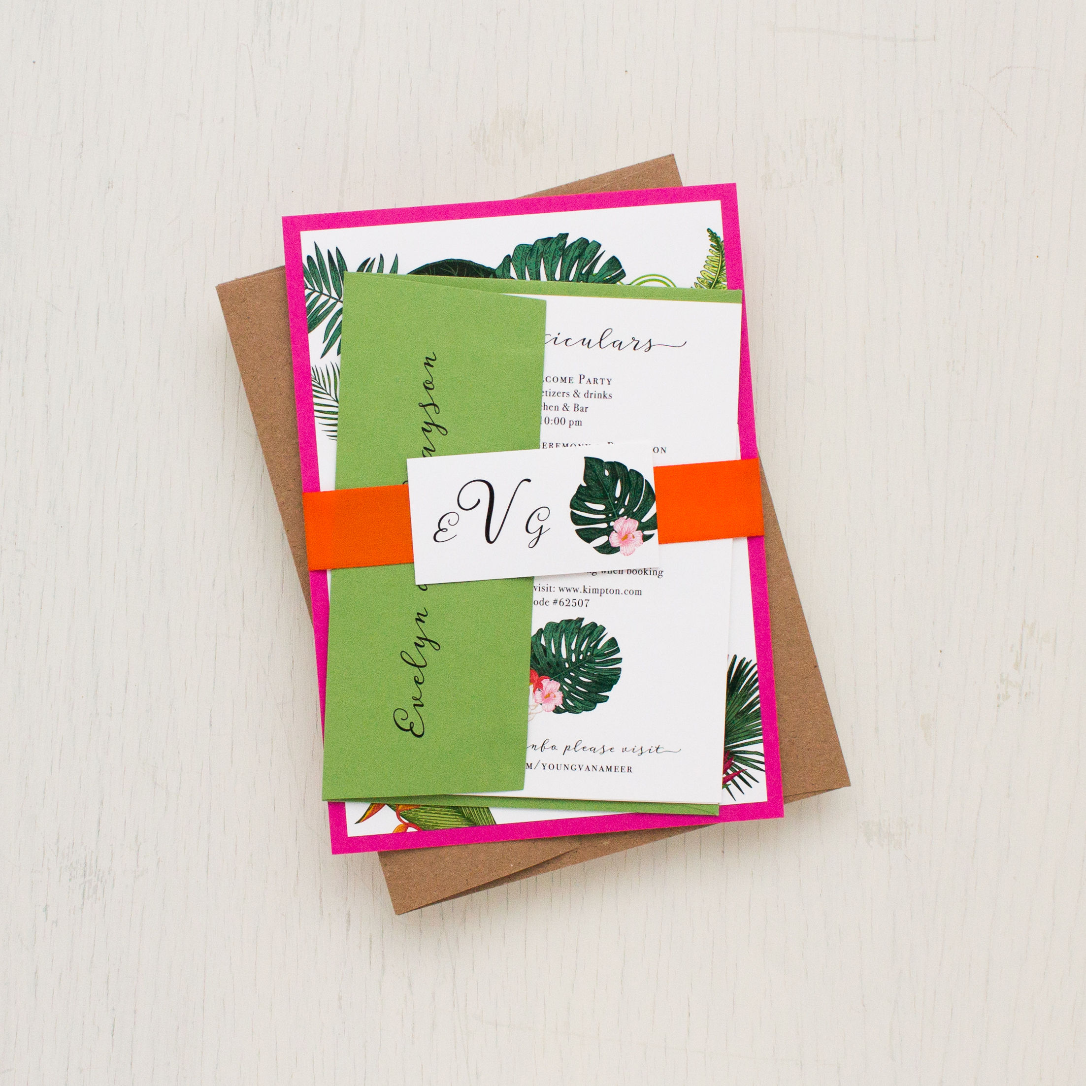 Palm Leaf Wedding Invitations Tropical