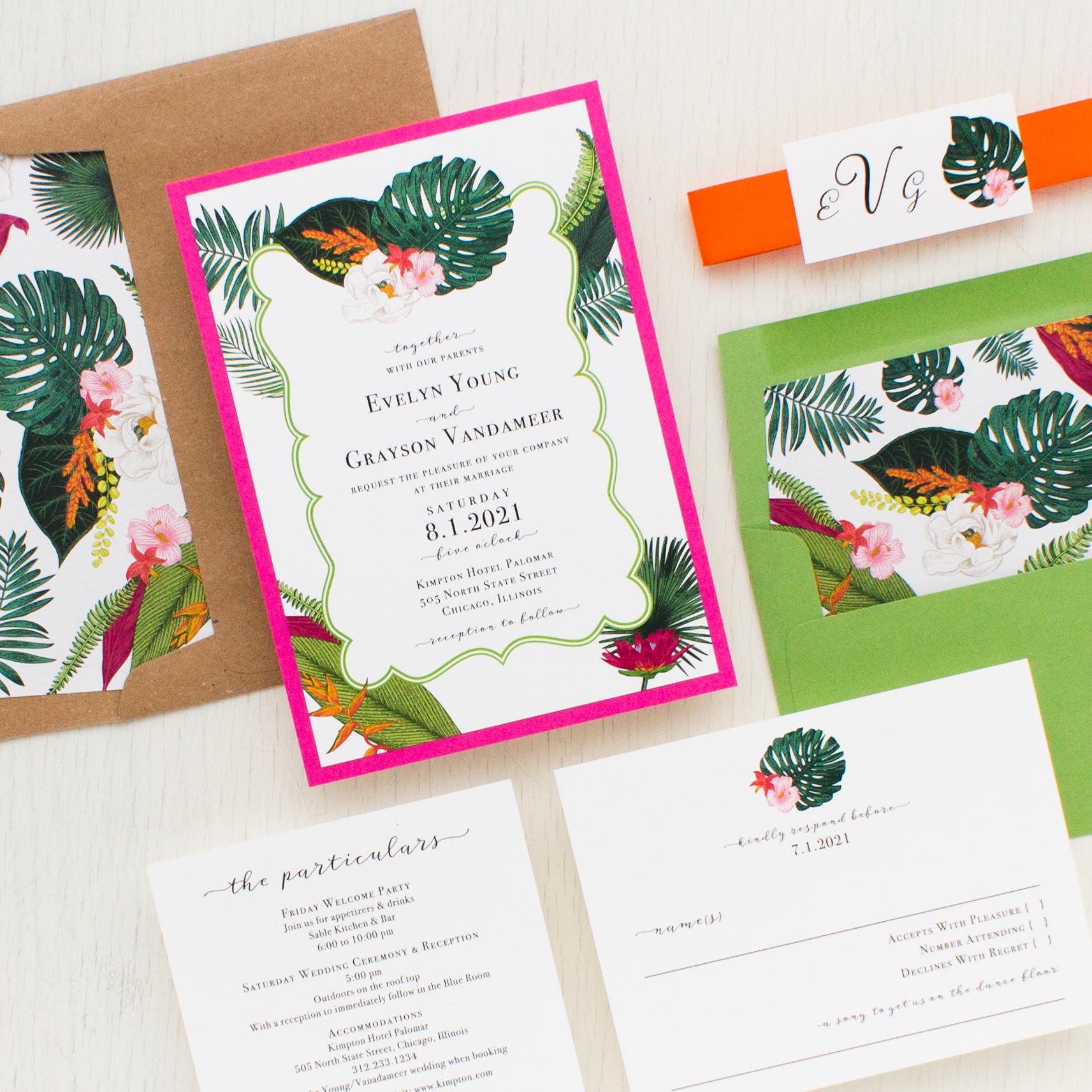 Palm Leaf Wedding Invitations | Beacon Lane
