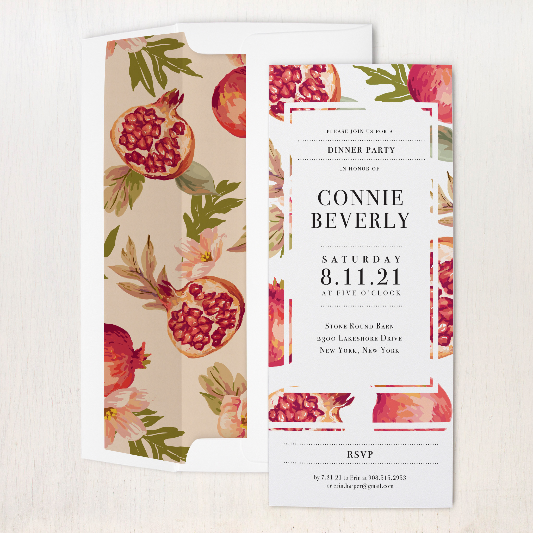 Pomegranate Pop Dinner Party Invitations | Beacon Lane