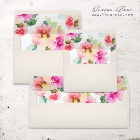 Seafoam Floral Envelope Liners