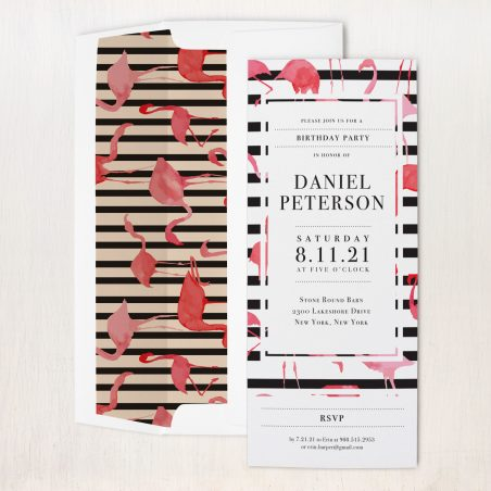 Striped Flamingo Party Invitations