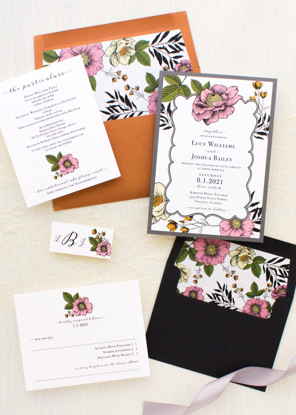 Vintage Copper Wedding Invitations