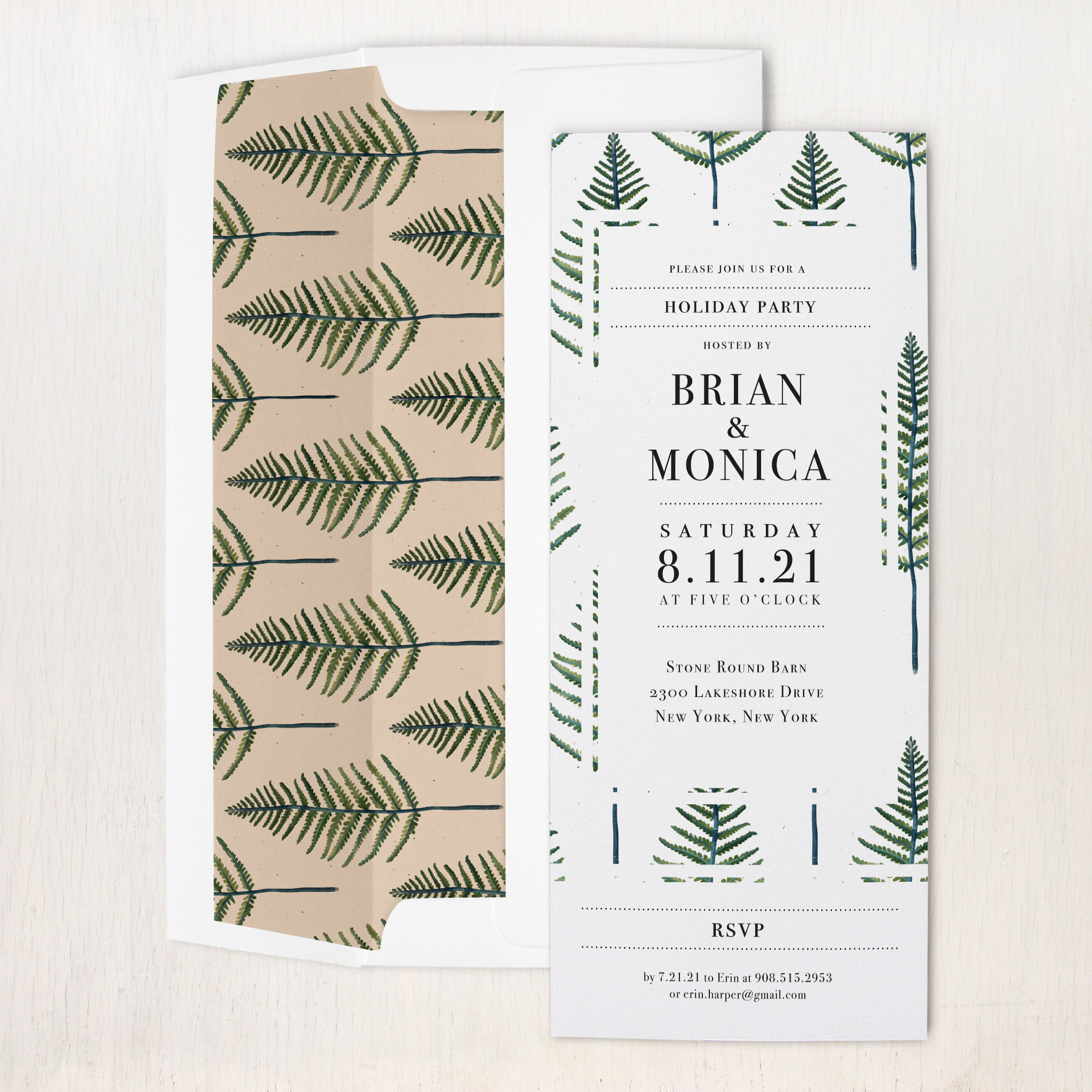 Vintage Fern Party Invitations