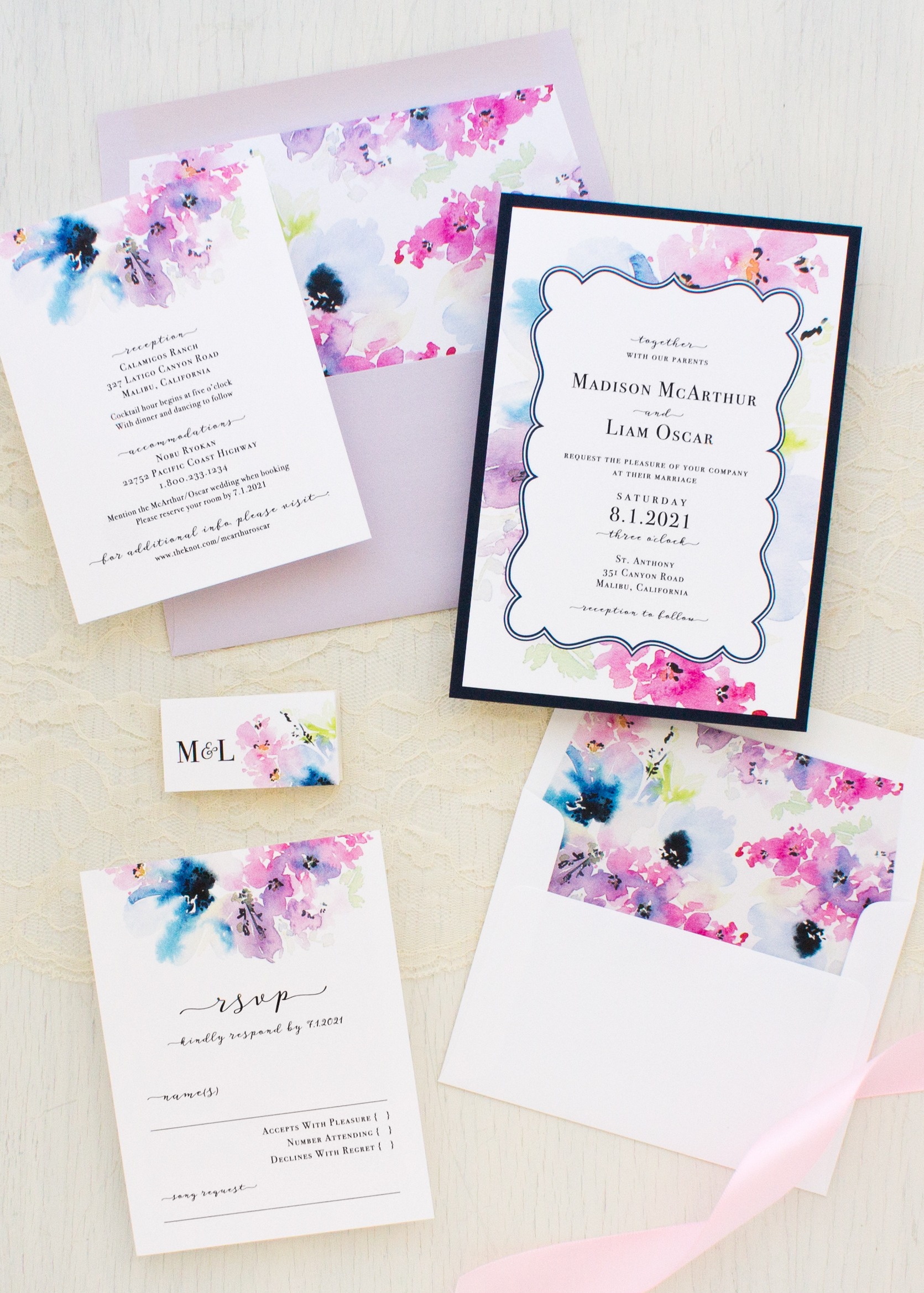 Vintage Lavender Wedding Invitations | Beacon Lane