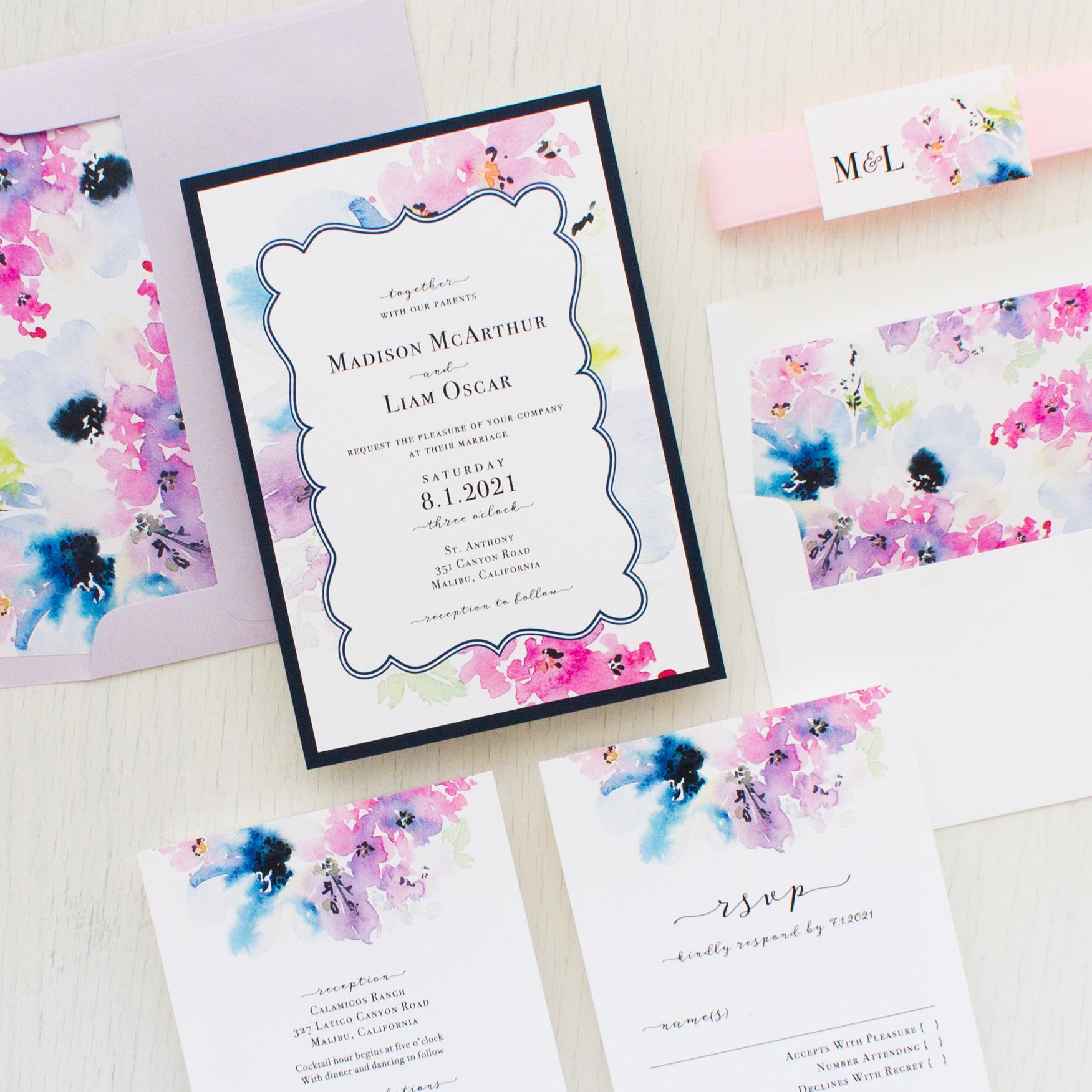 Vintage Lavender Wedding Invitations | Beacon Lane