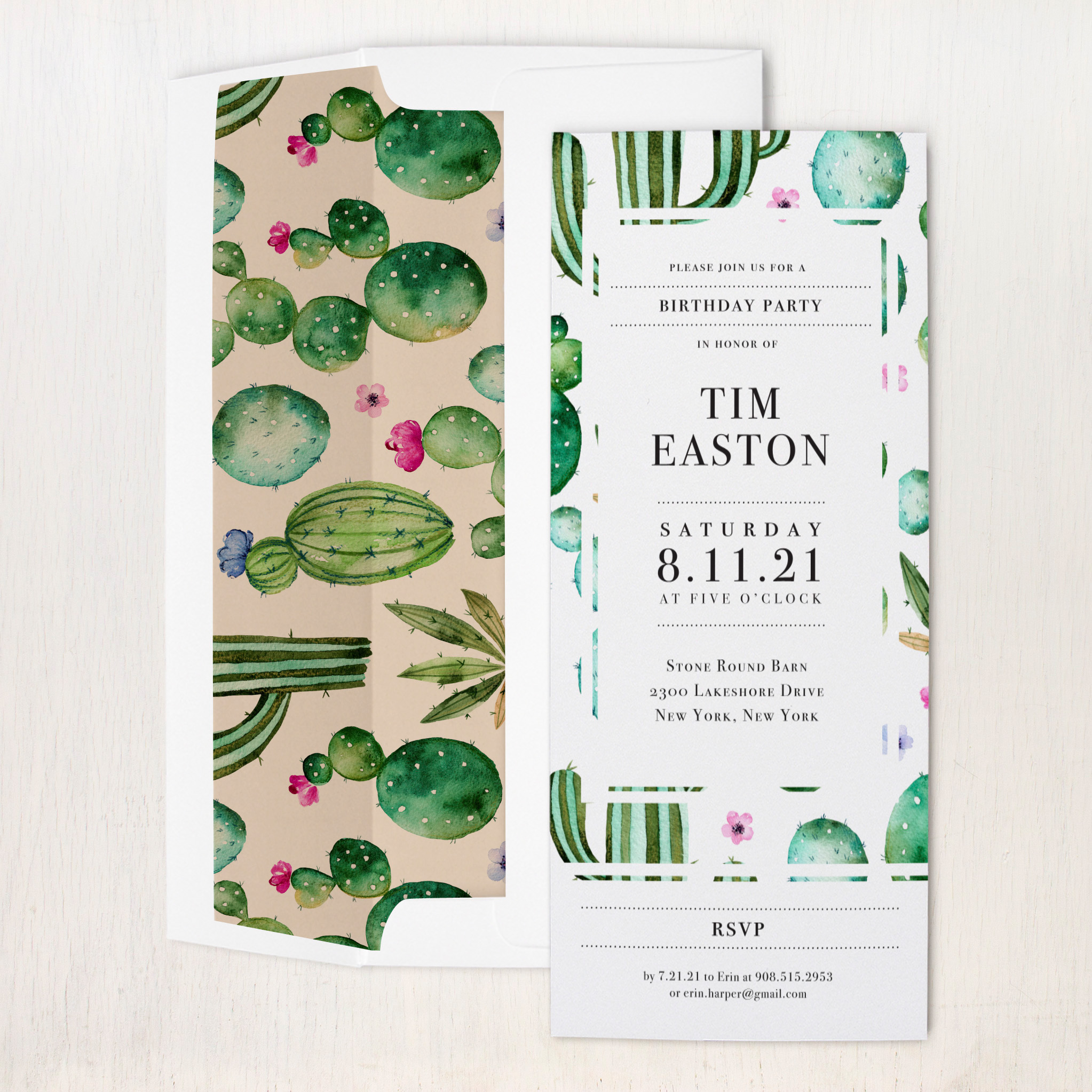 Watercolor Cactus Party Invitations