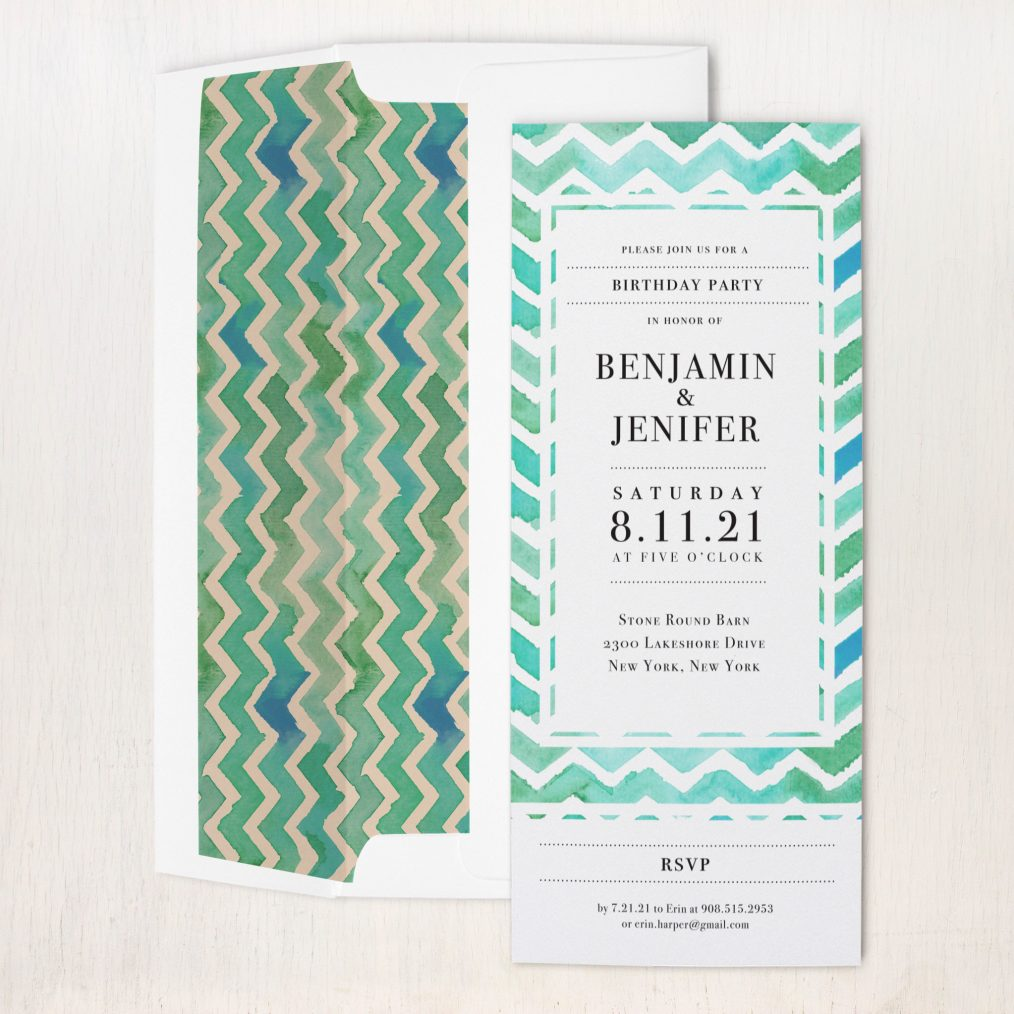 Watercolor Chevron Party Invitations