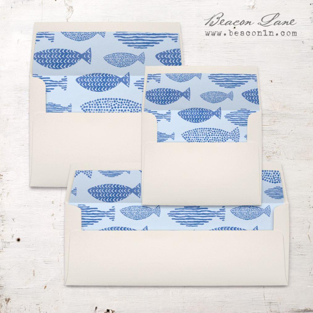 Nautical Navy Envelope Liners