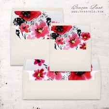 Scarlet Blooms Envelope Liners
