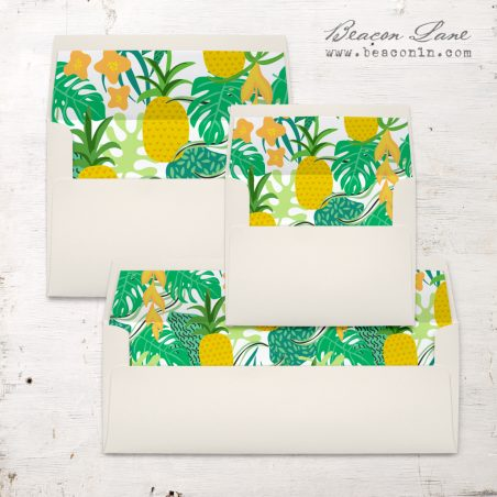 Yellow Pineapple Envelope Liners