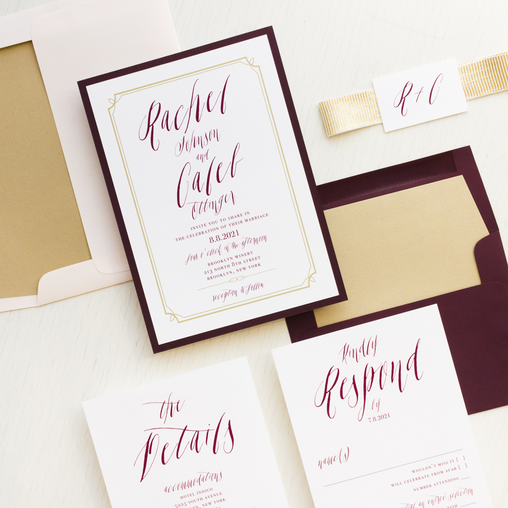 Blush & Burgundy Wedding Invitations | Beacon Lane
