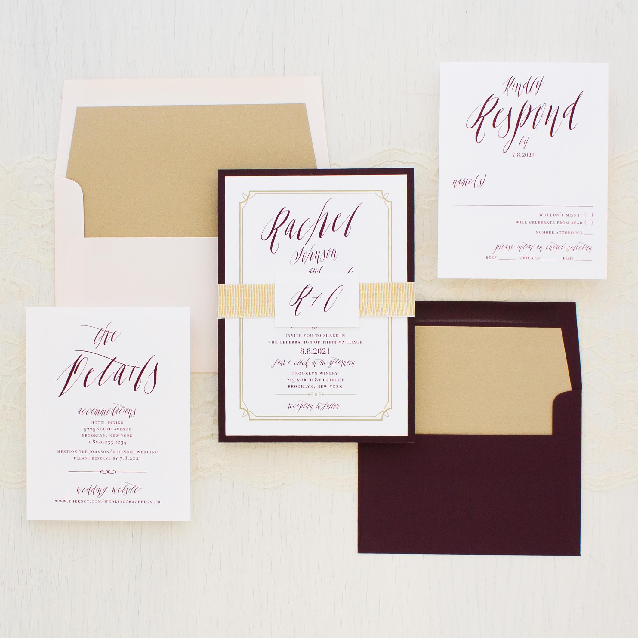 Blush & Burgundy Wedding Invitations | Beacon Lane