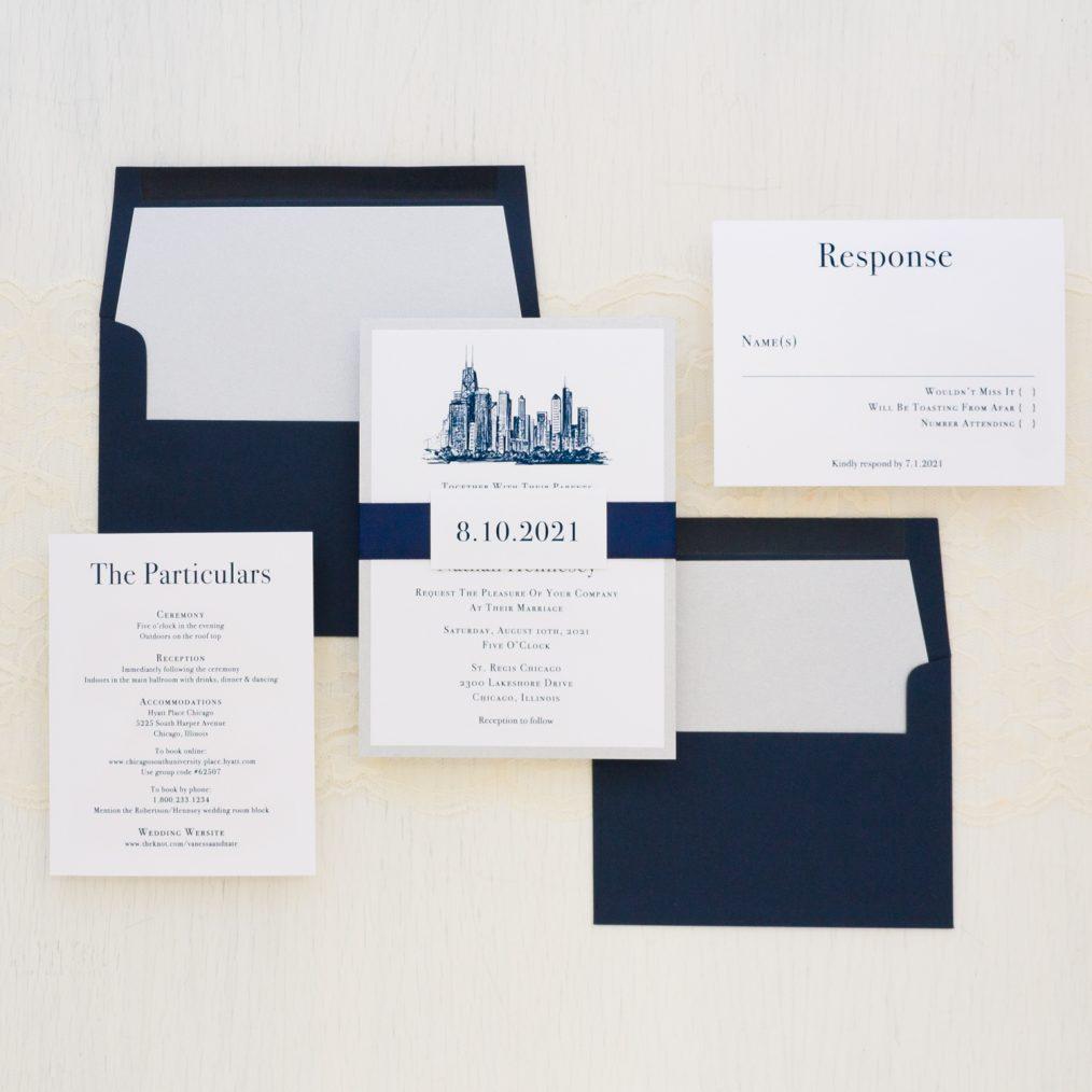 Navy Chicago Wedding Invitations Modern