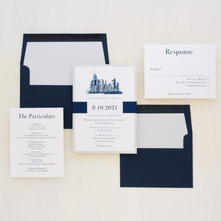Navy Chicago Wedding Invitations Modern