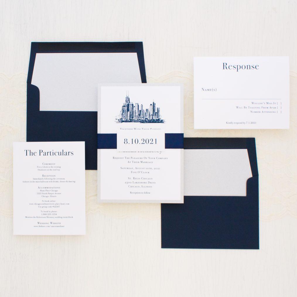 chicago skyline wedding invitations beacon lane