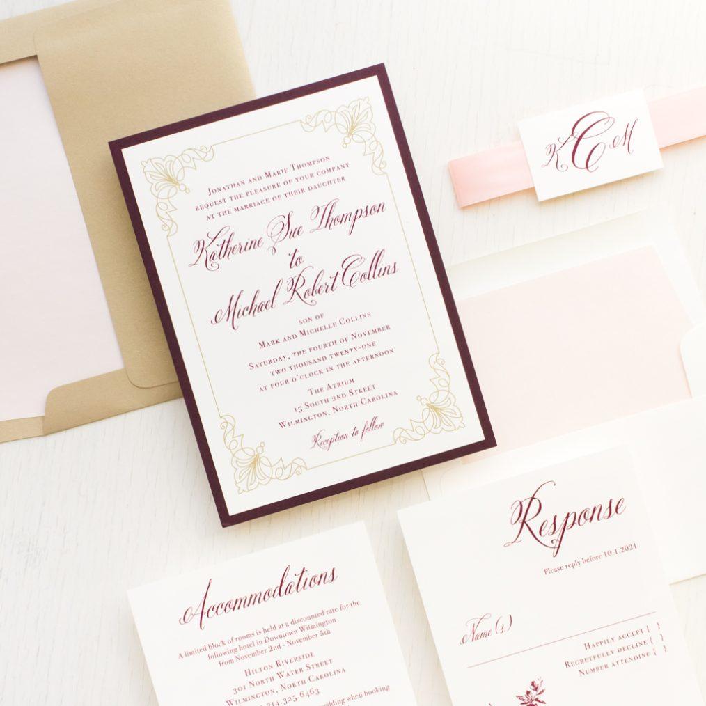 Classic Burgundy and Gold Wedding Invitations