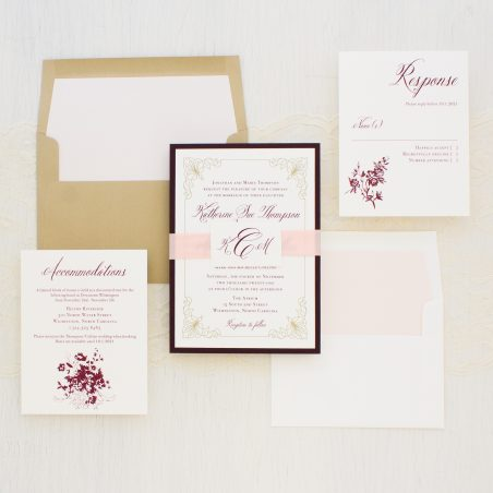 Classic Burgundy and Gold Wedding Invitations
