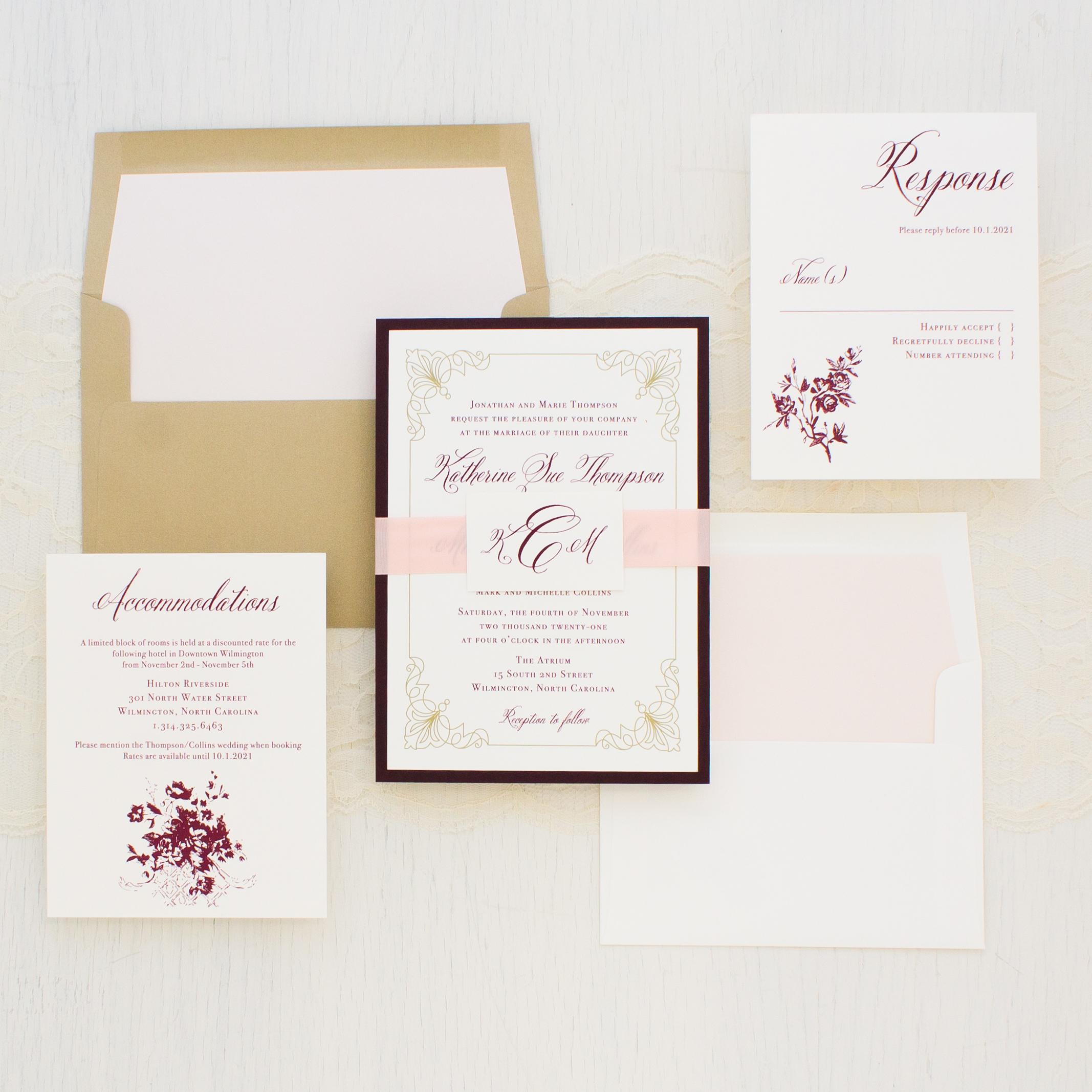 Gold Wedding Invitations: Classic Burgundy & Gold Wedding Invitations