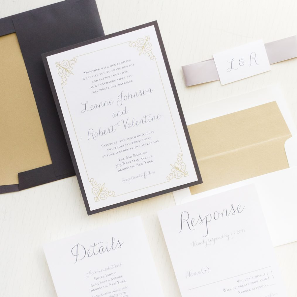 Classic Script Gray Gold Wedding Invitations