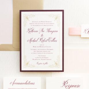 Classic Burgundy Wedding Invitations