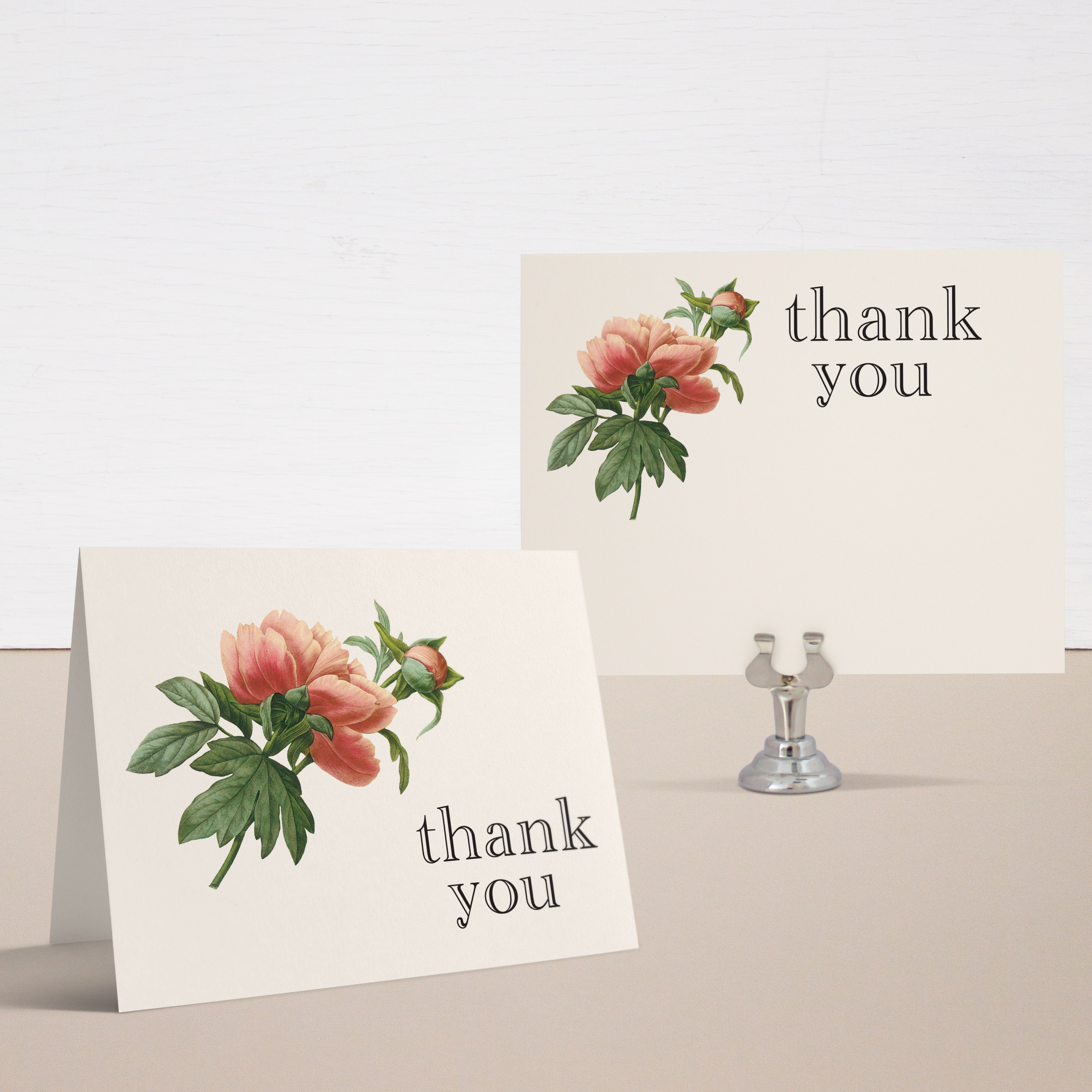 Ivory & Coral Thank You Cards